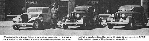1930s Plymouth patrol cars