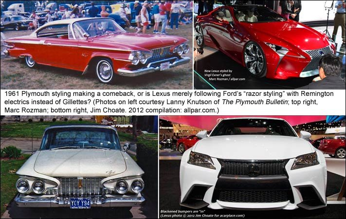 1961 Plymouth cars vs 2012 Lexus cars