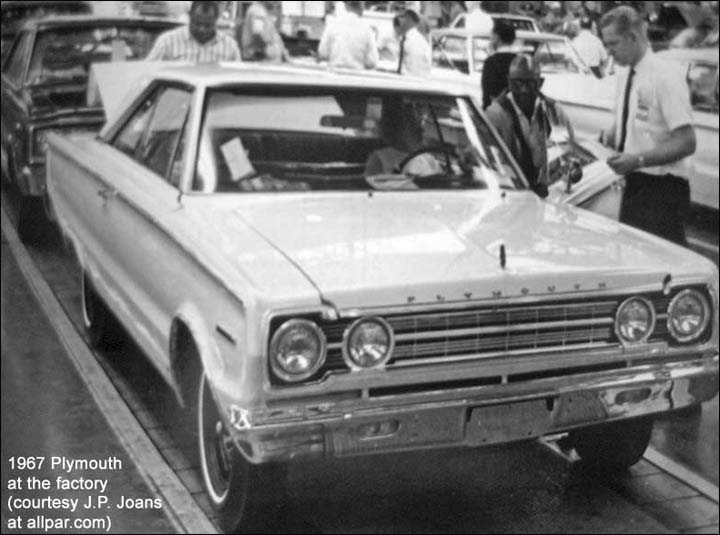 1967 plymouth at the factory