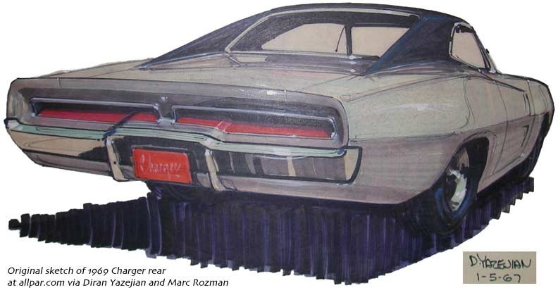 1969 Charger rear sketch