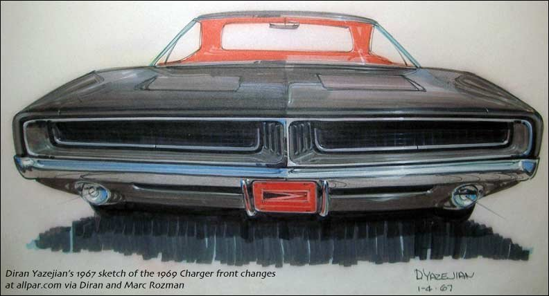 1969 Charger front sketch from 1967
