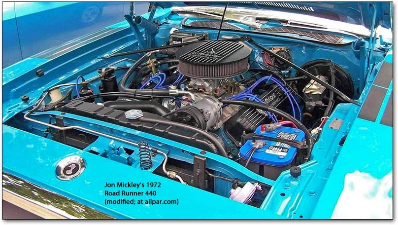 1972 Plymouth Road Runner 440 engine