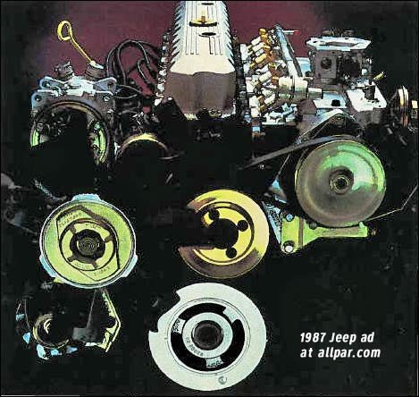 based on the old 199 cubic inch typhoon six (launched in 1964 via the  tall-deck 232), the amc 4 0 liter engine used a shallow-skirt cast-iron  block with