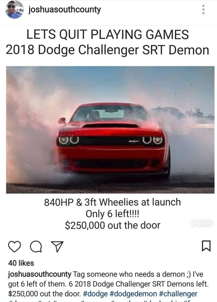 News: Dealer testing top price for Demons