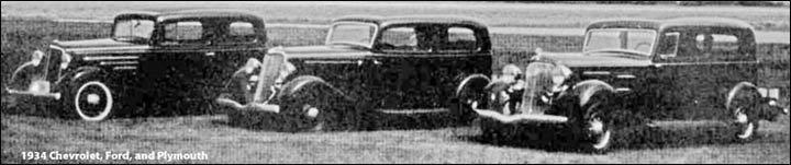 "1934 ""Big Three"" comparison test / car reviews"