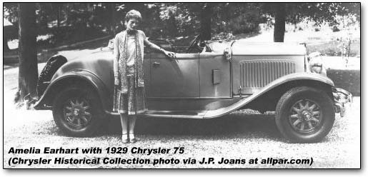 Amelia Earhart and Chrysler 75