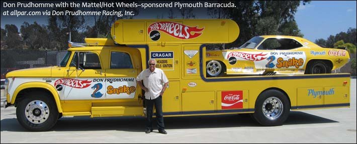 Prudhomme with Hot Wheels Barracuda