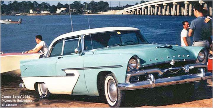 1956 Plymouth Belvedere car in water