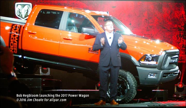 ... orange Power Wagon made its way down a set of stairsteps to the stage