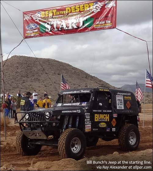 Bunch Jeep at starting line