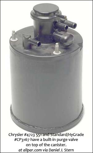 Chrysler and Standard/HyGrade canister with top-mounted purge valve