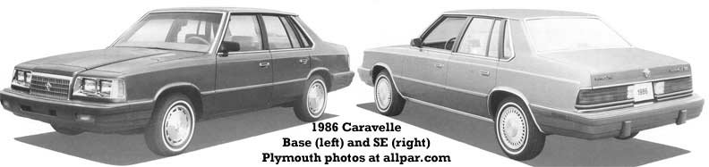 1986 plymouth caravelles - cars