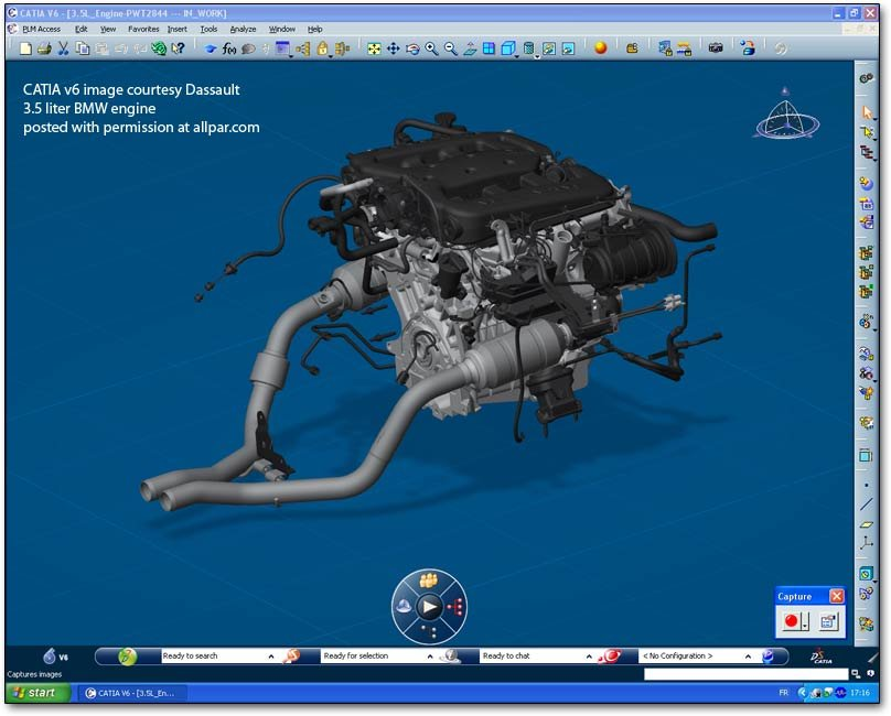 CATIA v6 view  of BMW 3.5 liter V6 engine