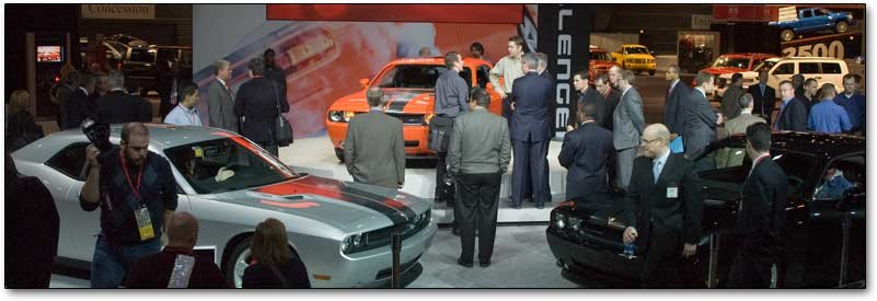 dodge challengers at the chicago auto show