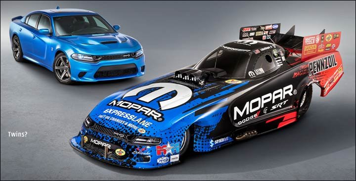 Racing car and production Hellcat Charger