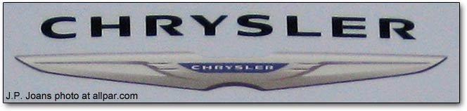 chrysler logo detail from dealer sign