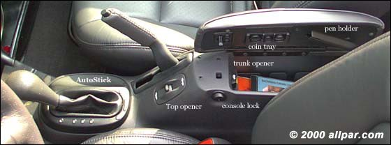 sebring - chrysler - convertible center console