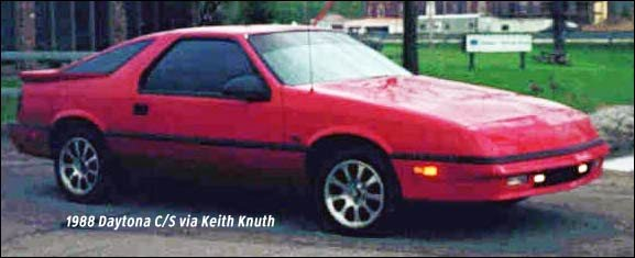 Dodge Daytona: a sporty, turbocharged front wheel drive car of the