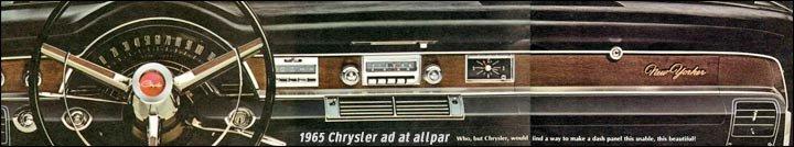 chrysler cars 1924 1966 1965 Chrysler New Yorker 2 Door dashboard 1965 chrysler
