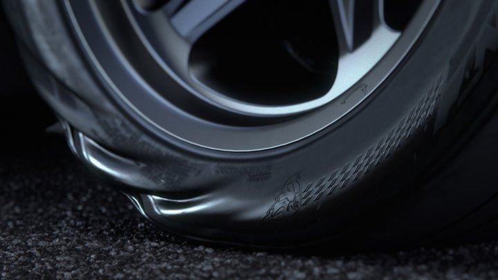 tire deforming under power