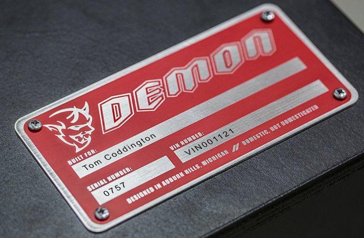 Dodge Demon number plate