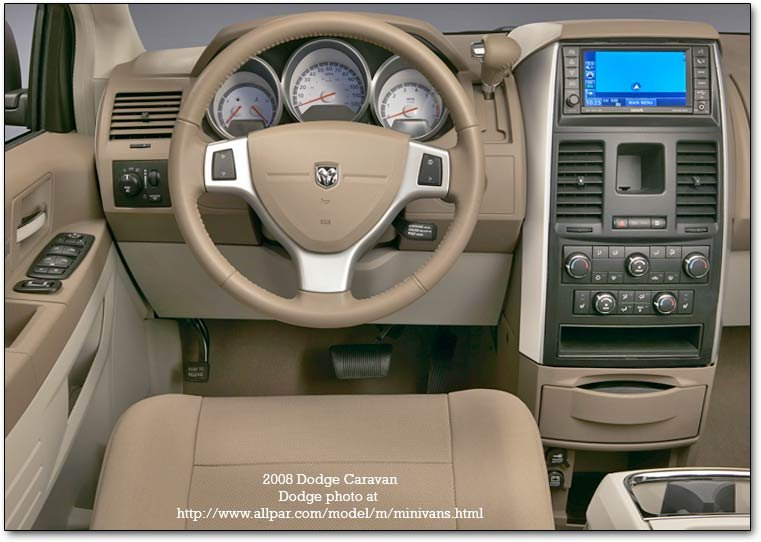 inside the 2008 Dodge Caravan minivans
