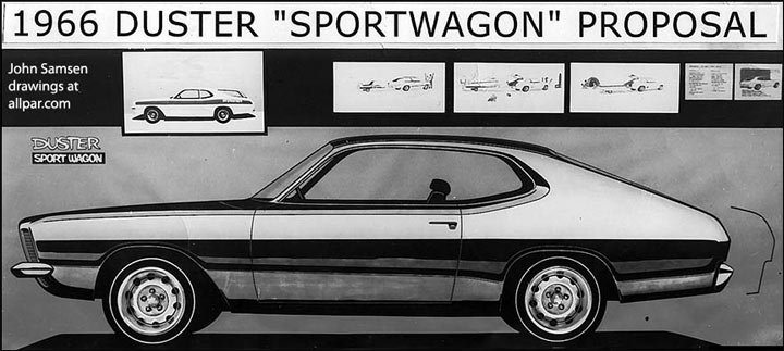 1966 drawings of the Duster Sportwagon car