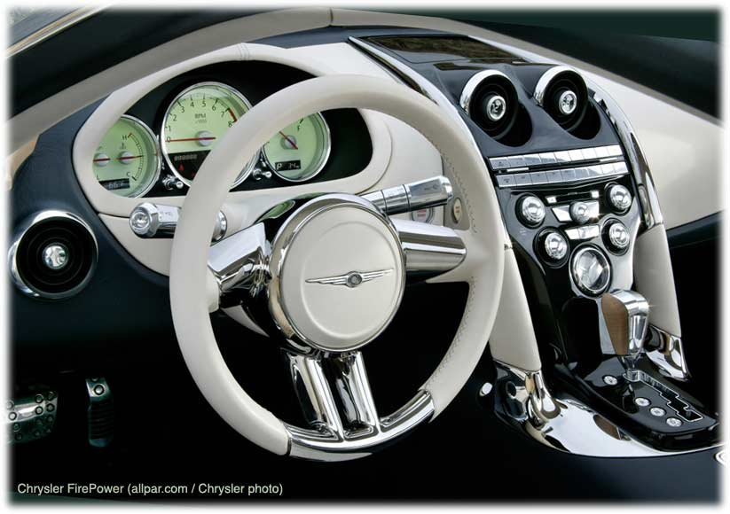 Retro-Chrysler interior in the Viper-powered Chrysler Firepower concept car