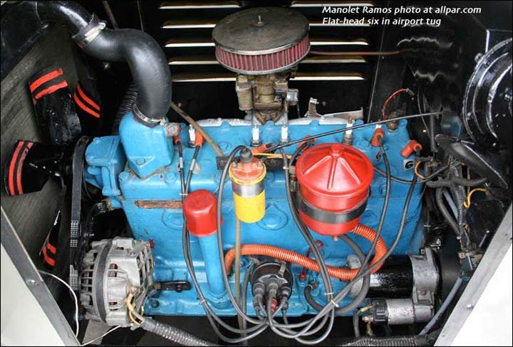 Flat-head six cylinder engine in an airport tug in Manila