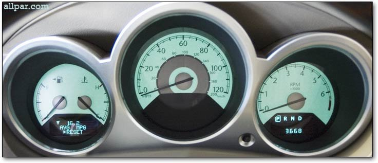 Gauges on 2002 Chrysler Sebring Convertible
