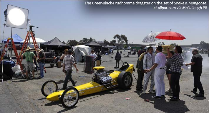 Greer-Black-Prudhomme dragster on set