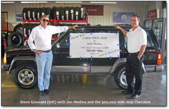 the Jeep Cherokee at 300,000 miles