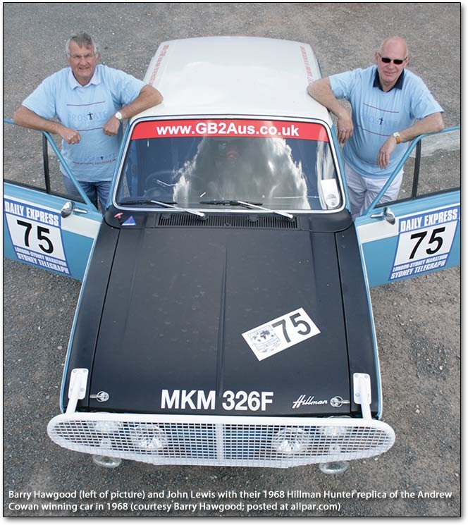 Barry Hawgood and John Lewis wiht their 1968 replica of Andrew Cowan's 1968 Hillman Hunter
