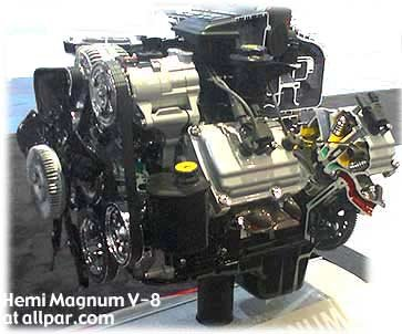 The Hemi V8 has pushrod-operated overhead valves, sequential multiple ...