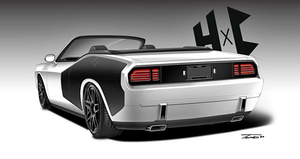Rear view of the HXC Hemi 'Cuda showing the billboard graphics