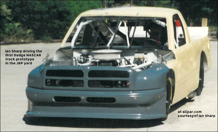 Ian Sharp in early Dodge NASCAR truck