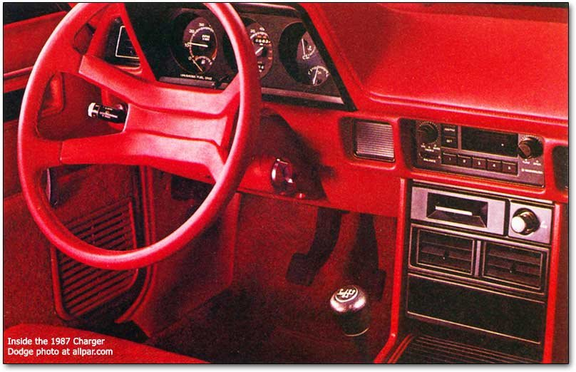 inside the 1987 dodge charger