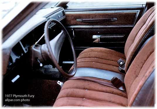 inside the 1977 Plymouth Fury cars