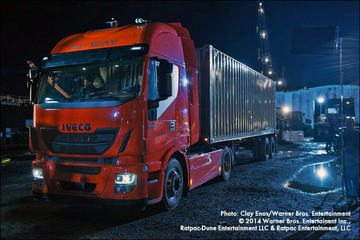 Night shot of Iveco Stralis on the set of Batman v Superman