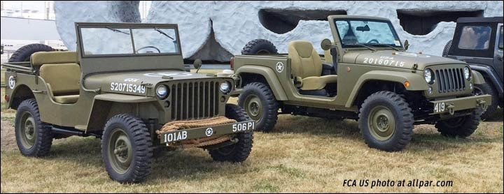1941 Willys MA and 2016 Jeep Wrangler Salute concept