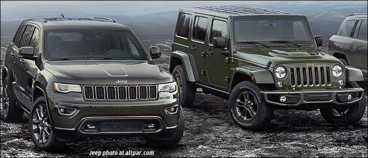 75th anniversary 2016 Jeep Grand Cherokee and Wrangler
