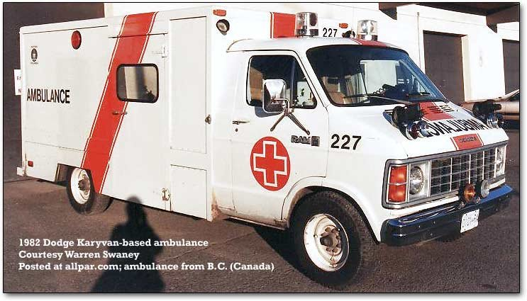 1982 Dodge KaryVan ambulance