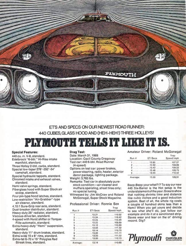 large road runner ad