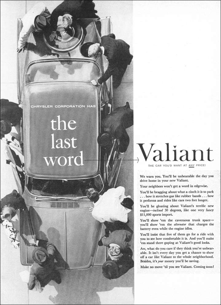 Valiant Through Advertising The 1960 Compact Car Launch
