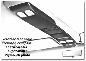overhead console - plymouth voyager
