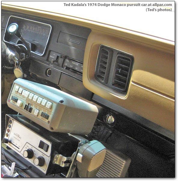 Inside the 1974 police car