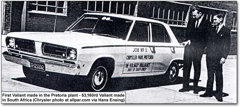 Pretoria built South African Chrysler Valiant car