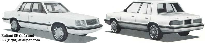 Plymouth Reliant Dodge Aries And Chrysler Lebaron The K Cars