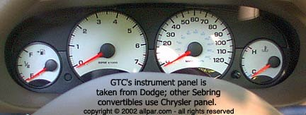 2006 Chrysler Sebring GTC gauges