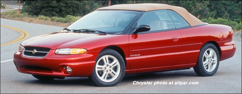 red 1996 Chrysler Sebring convertible